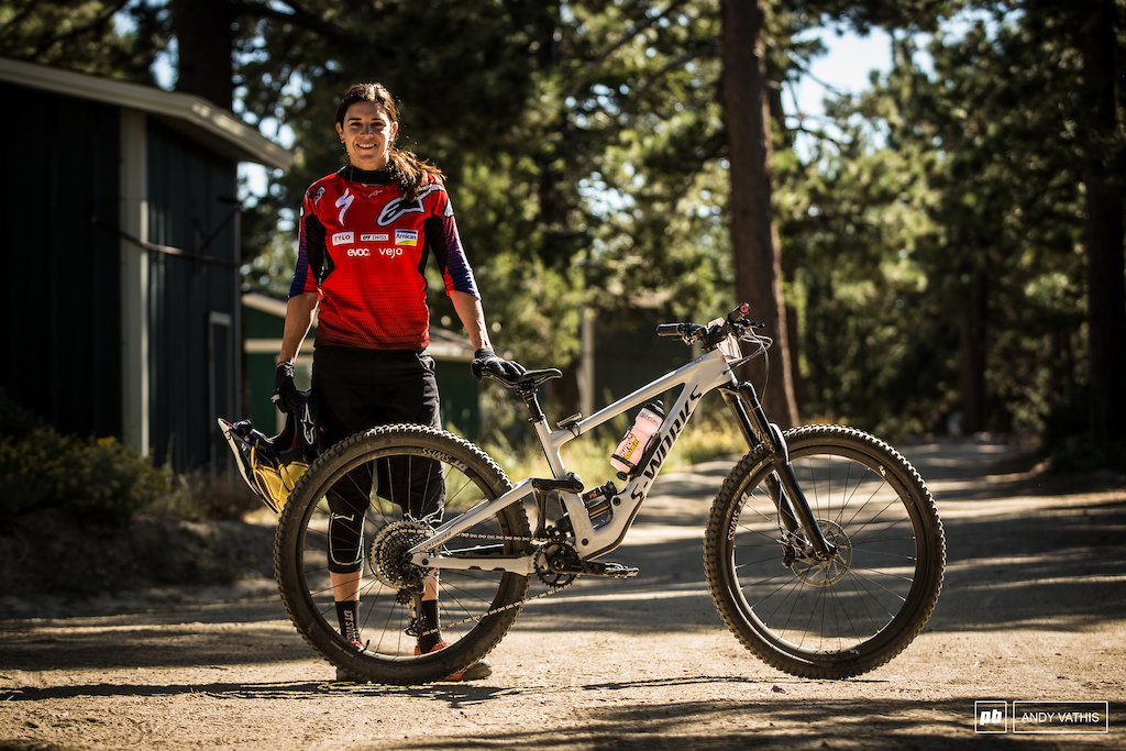 Anneke Beerten with her brand new Enduro.