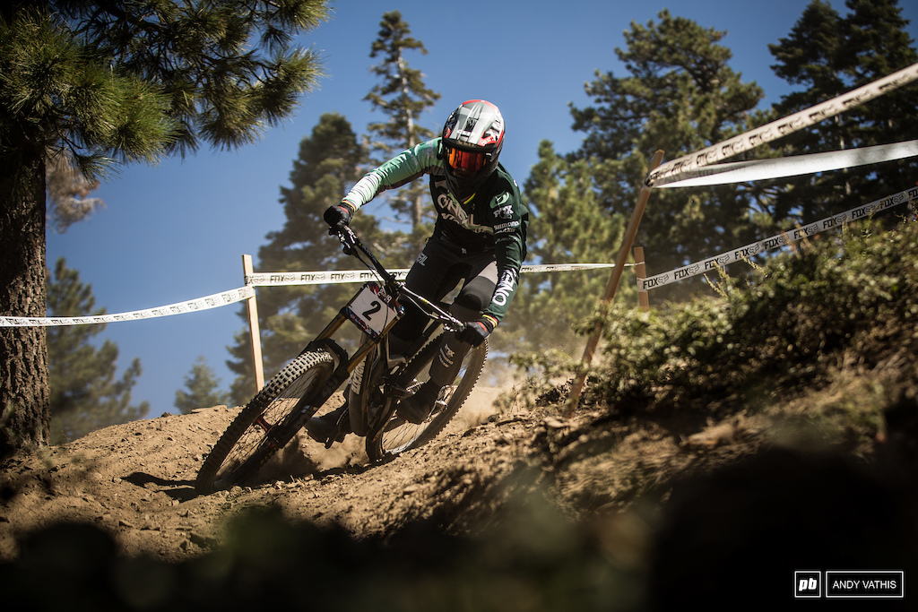 Greg Minnaar trying to find his pace in the California loam. He should speed things right up for tomorrow s final.