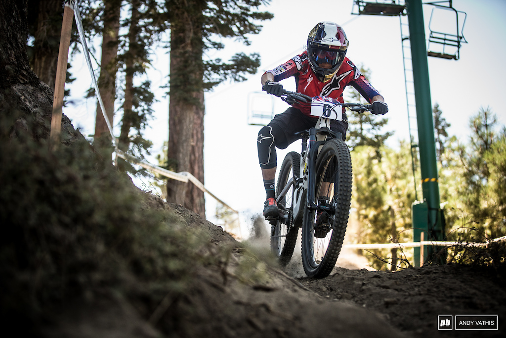 Anneke Beerten is a top 10 qualifier after going on and winning the enduro race earlier in the day.