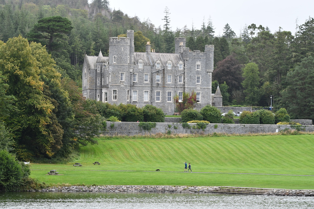 Castlewellan castle built in 1855 overlooking the lake and the area