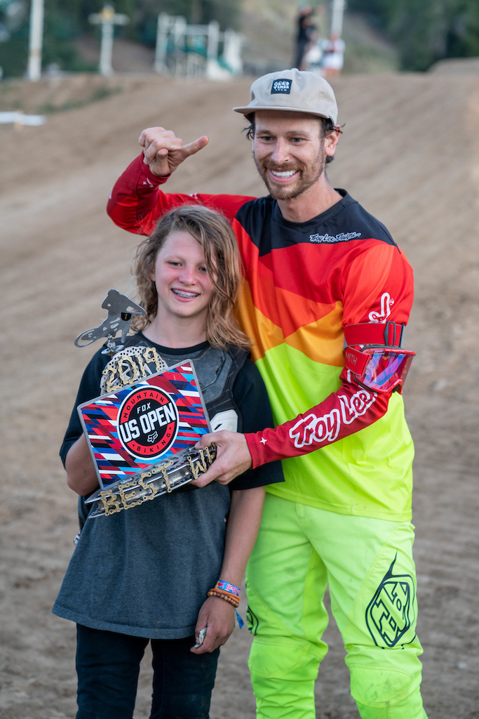 "Allan Cooke gives Finley Kirschenmann the Elite Whip Off Best Whip Trophy and says, ""I will see you in Whistler next year... I will be following you(Finley)."""