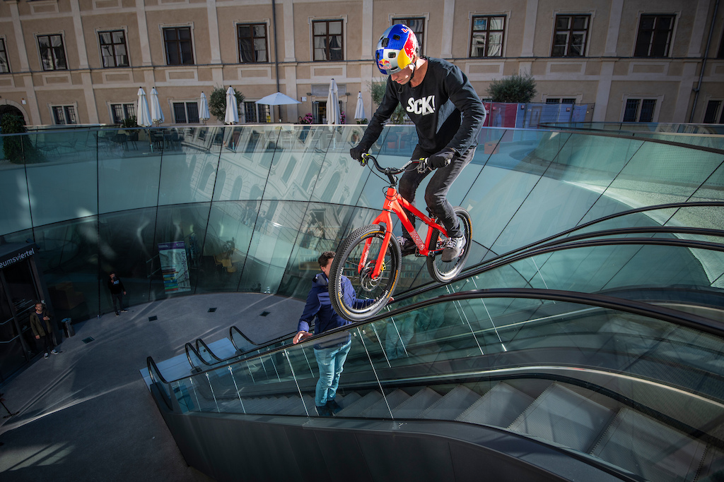 Fabio Wibmer performs during the Shoot of Wibmers Law in Graz Austria on September 28 2018 Philip Platzer Red Bull Content Pool AP-21KD4A8HD1W11 Usage for editorial use only