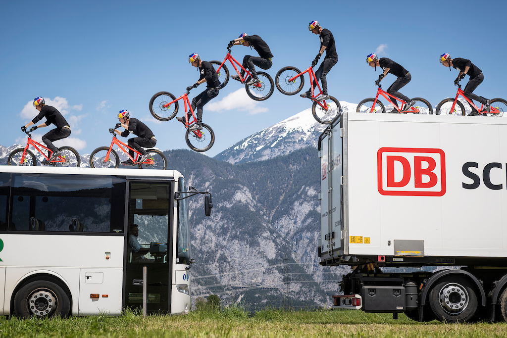Fabio Wibmer performs during the Shoot of Wibmers Law in Innsbruck, Austria on June 4, 2019 // Philip Platzer/Red Bull Content Pool // AP-21KD4A7R51W11 // Usage for editorial use only //