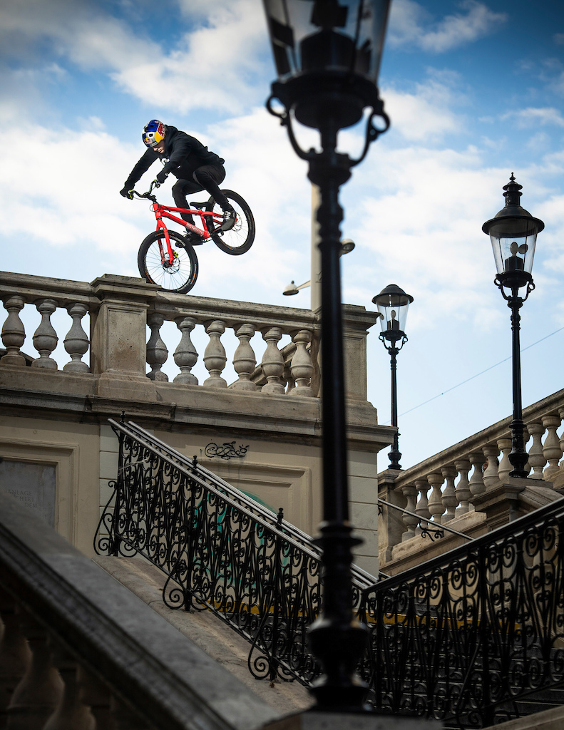 Fabio Wibmer performs during the Shoot of Wibmers Law in Vienna Austria on September 25 2018 Philip Platzer Red Bull Content Pool AP-21KD4A8R91W11 Usage for editorial use only