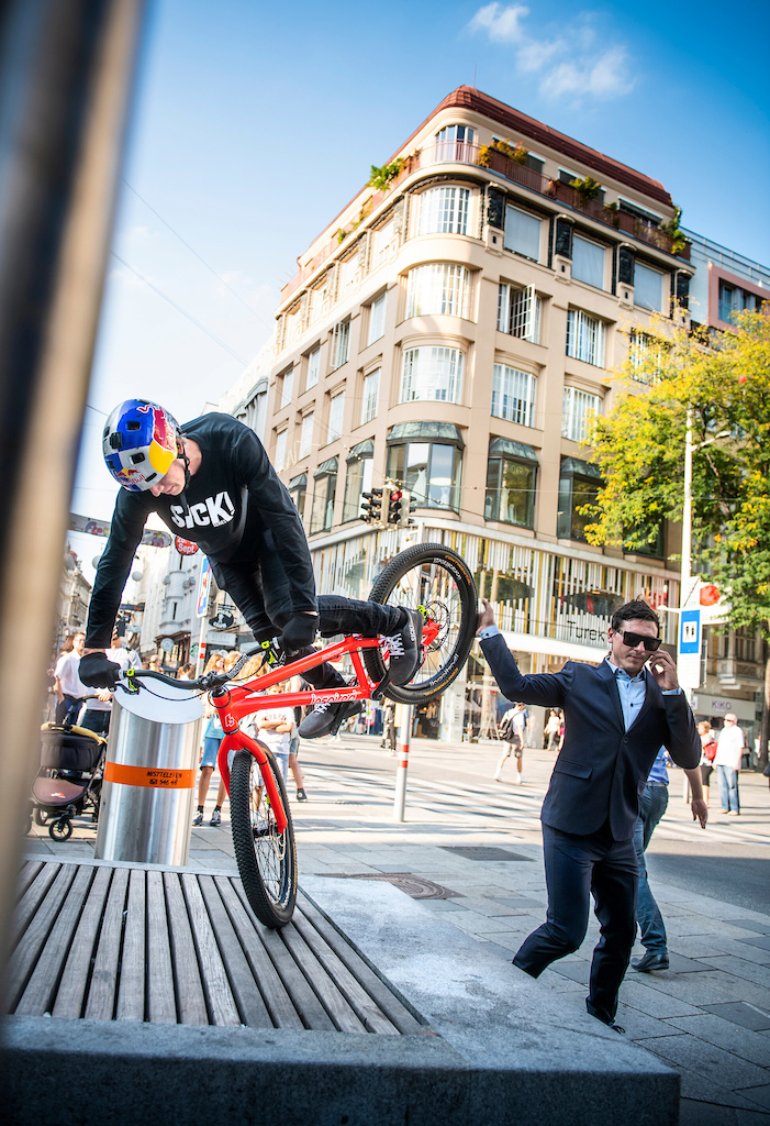 Fabio Wibmer performs during the Shoot of Wibmers Law in Vienna, Austria on September 20, 2018 // Philip Platzer/Red Bull Content Pool // AP-21KD4ACP51W11 // Usage for editorial use only //