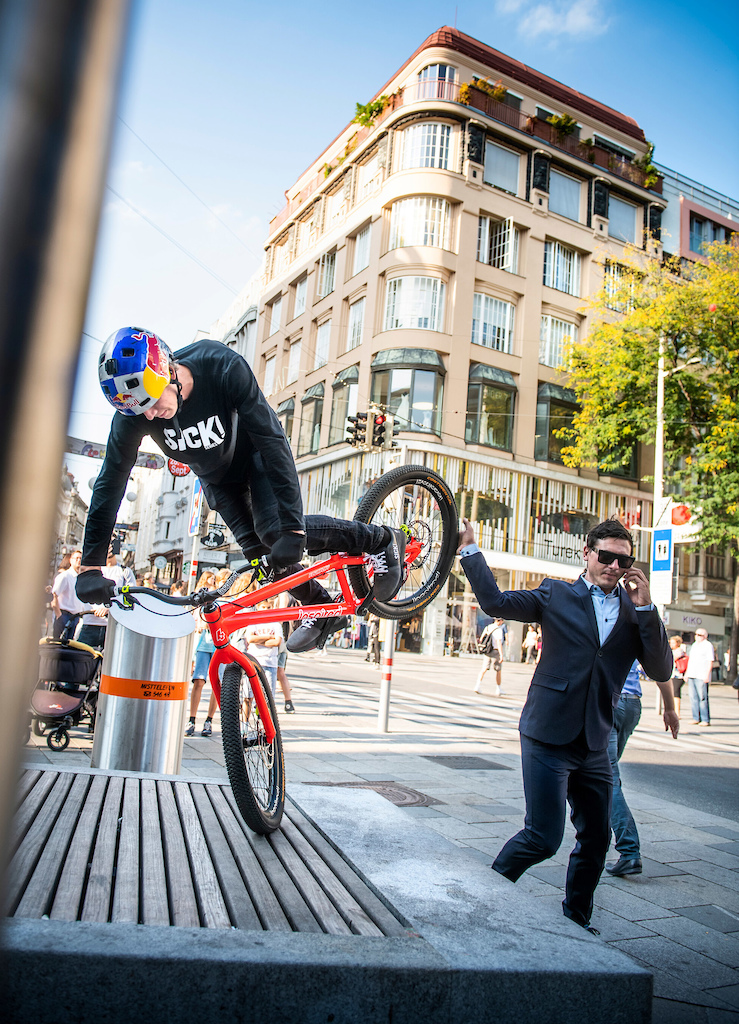 Fabio Wibmer performs during the Shoot of Wibmers Law in Vienna Austria on September 20 2018 Philip Platzer Red Bull Content Pool AP-21KD4ACP51W11 Usage for editorial use only