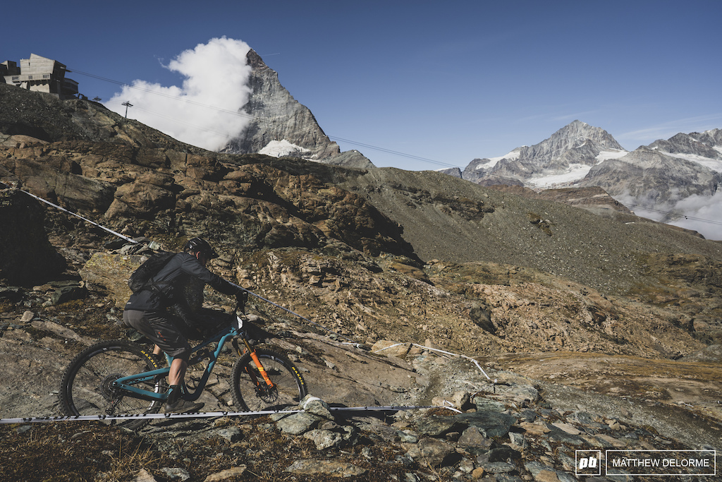 Dave Trumpore dives into stage three while the Matterhorn looms in the distance.