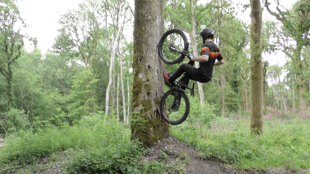 Nikki Whiles riding for Juice Lubes Home to Roost at his local secret trails.