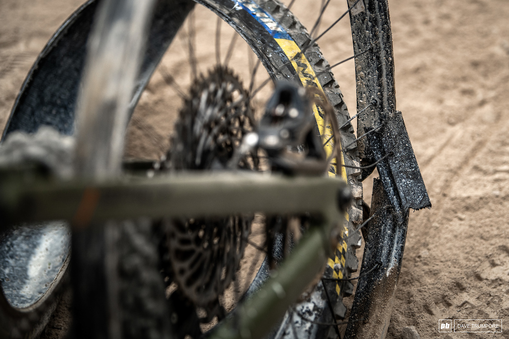 Adrien Dailly crushed his rim on the very last rock on track going for a big gap and coming up short. The French as a rough week with one broken hand two punctures and this dissipated wheel.