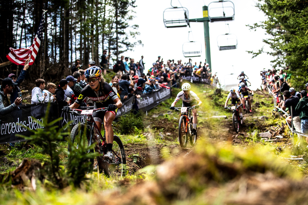 During the 2019 UCI MTB World Cup finals, Snowshoe, West Virginia, USA.