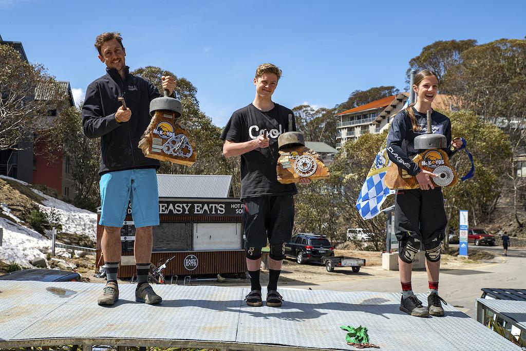 Chris Panozzo Jonah Cosgriff and Lia Ladbrook podium winners in Mckayos 2019