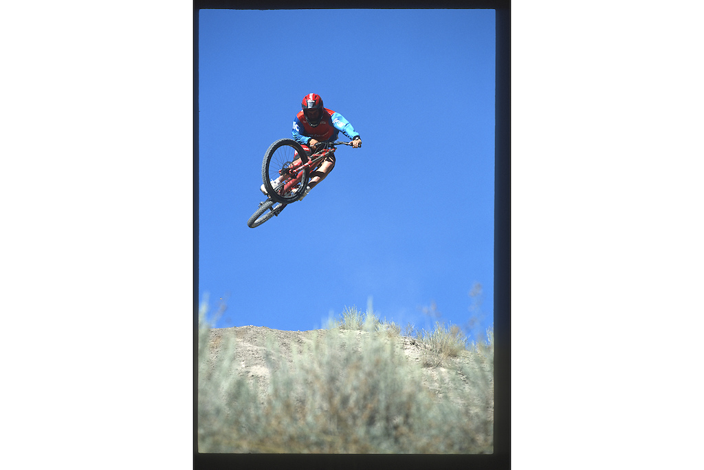 Jordie Lunn in Spences Bridge, BC filming for Ride to the Hills in 2000.