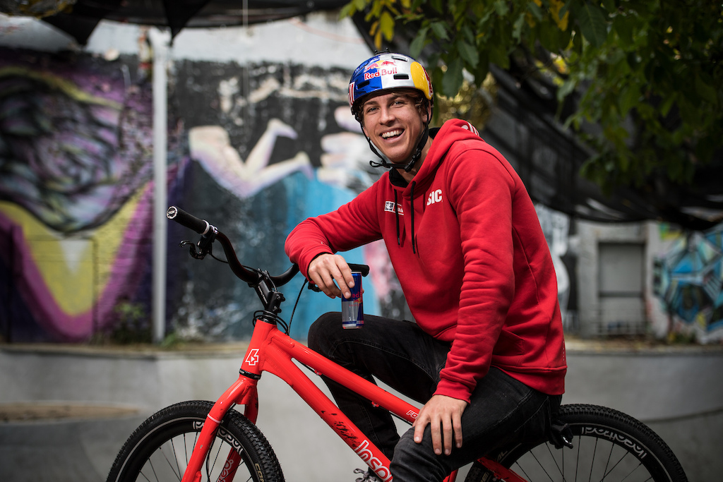 Fabio Wibmer poses for a portrait during Follow Fabio in Berlin Germany on October 10 2019. Hannes Berger Red Bull Content Pool AP-21UF9X4691W11 Usage for editorial use only