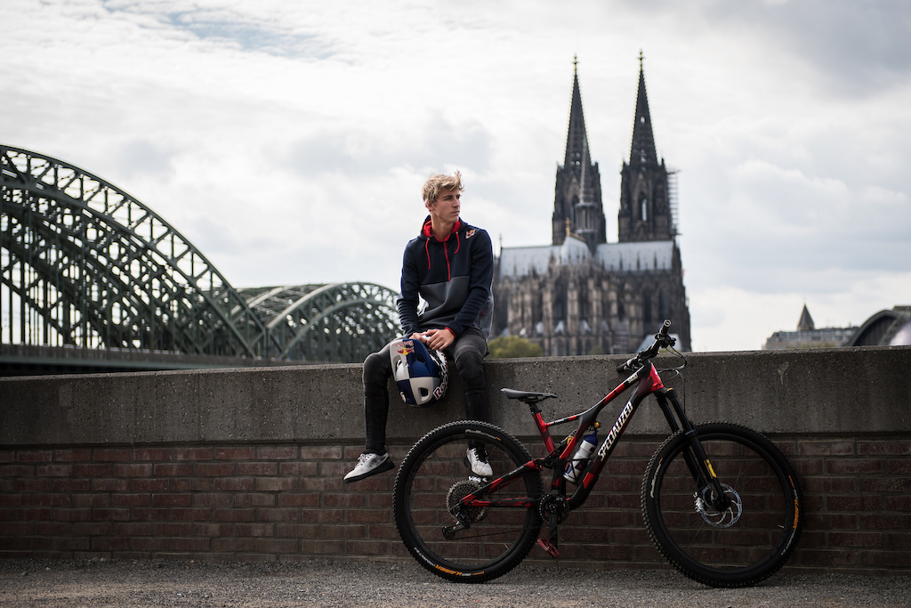 Fabio Wibmer poses for a portrait during the athlete project Follow Fabio in Cologne Germany on September 30 2019. Hannes Berger Red Bull Content Pool AP-21TVFKMM11W11 Usage for editorial use only