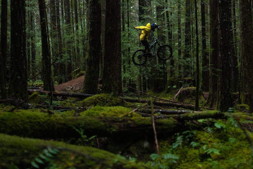 Mark Matthews riding his trails on Vancouver Island for his video Rainy Daze with PNW Components.