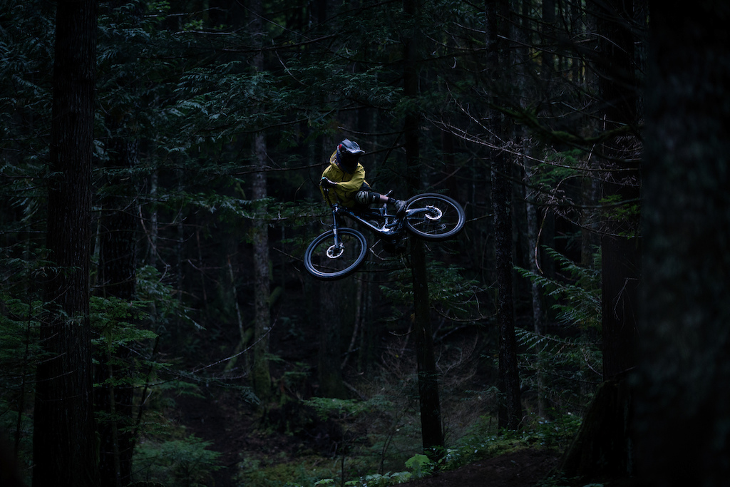 Mark Matthews riding his trails on Vancouver Island for his video Rainy Daze with PNW Components. Photo by Brett Kroeker