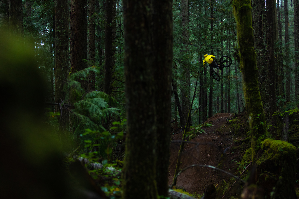 Mark Matthews riding his hand built trails on Vancouver Island for his video Rainy Daze with PNW Components.