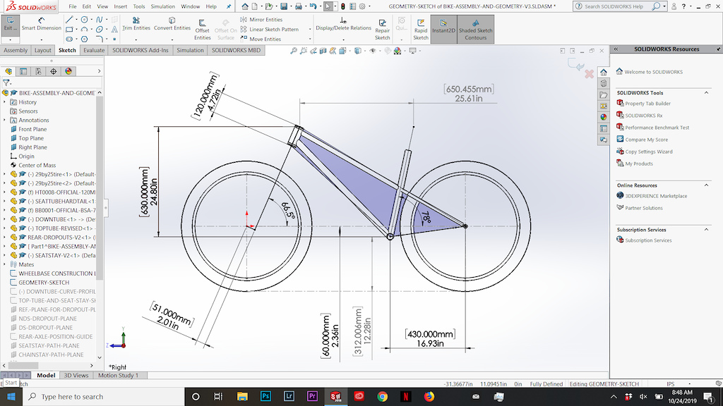 My current unfinished design and geometry for my trail all-mountain hardtail being designed and digitally tested and analyzed winter 2019 before small-batch manufacturing in 2020.