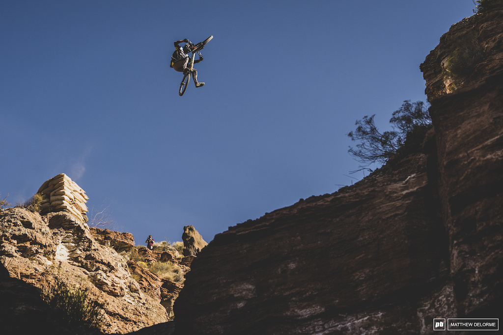 Brendog sails across his Canyon gap after sashing the landing the first try.