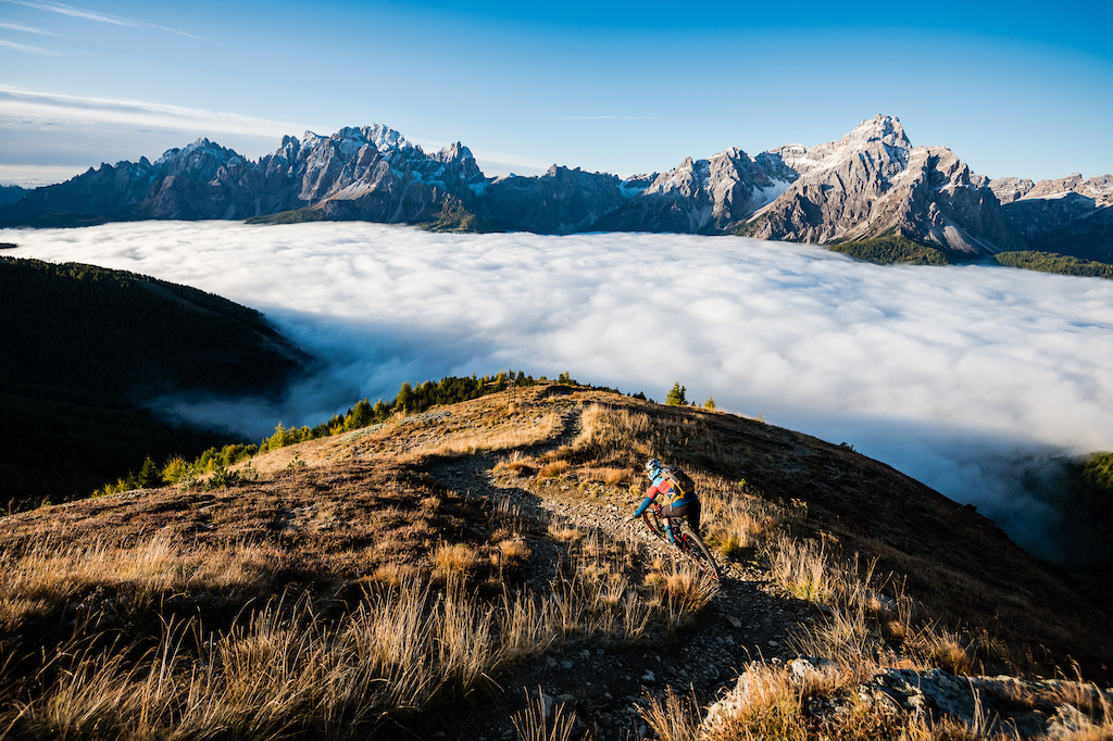 Julia Hoffman riding in Sexten Dolomites Italy.