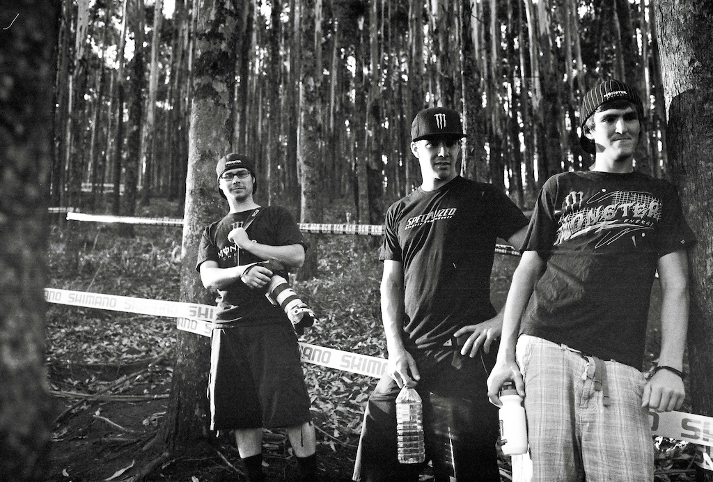 Track walk with Sam Hill Brendan Fairclough and photog Fraser Britton