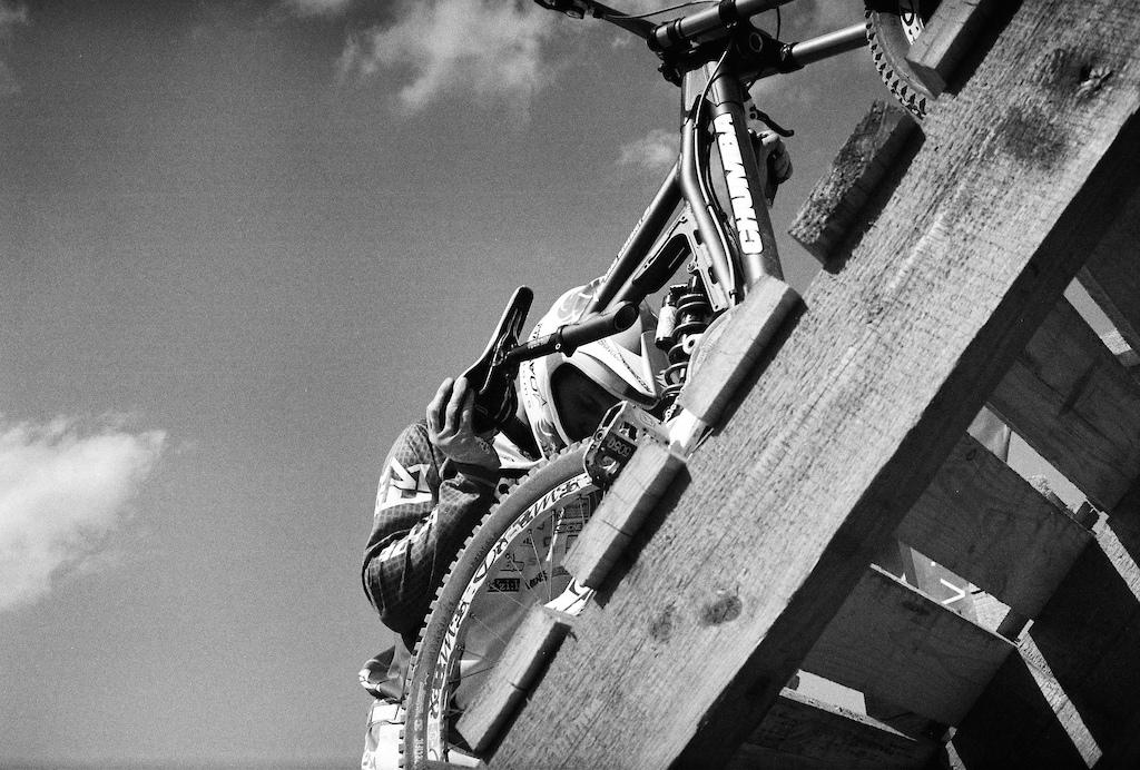 pushing up his Chumba Bike to the start gate