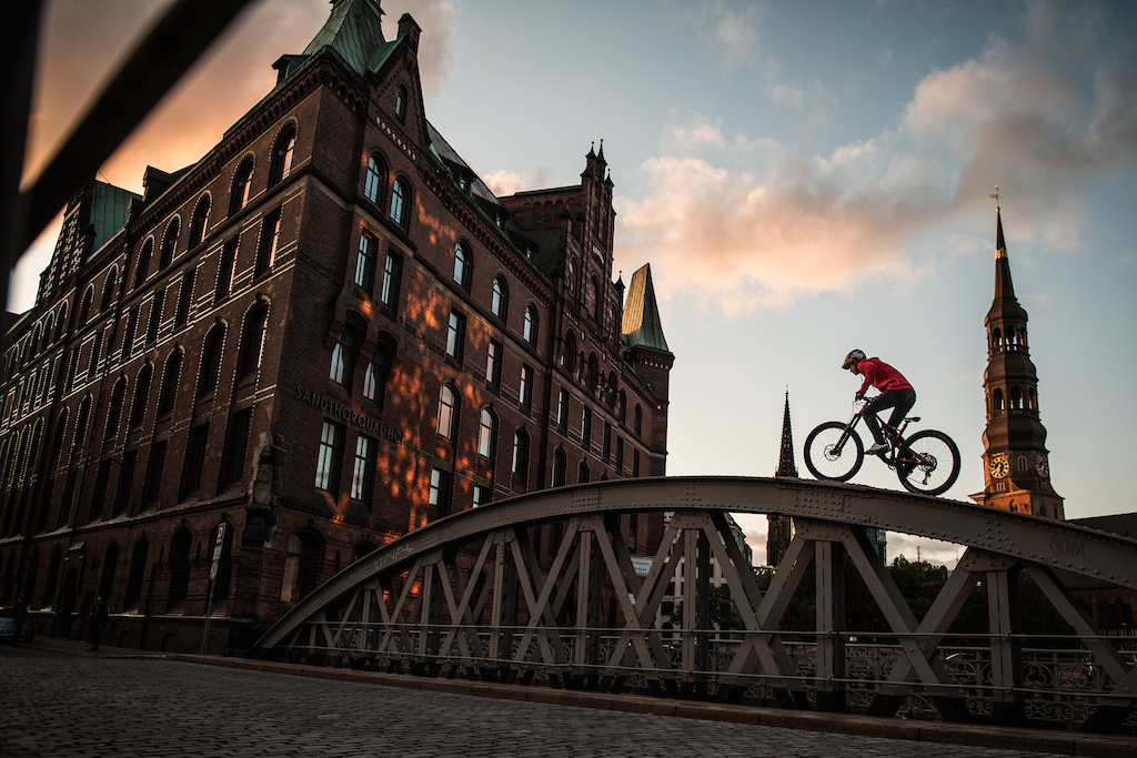 Fabio Wibmer performs during the athlete project Follow Fabio in Hamburg Germany on September 30 2019. Hannes Berger Red Bull Content Pool AP-21TVFQ3FN1W11 Usage for editorial use only