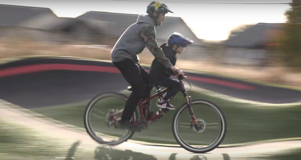 Riding with my daughter at the Redmond pumptrack