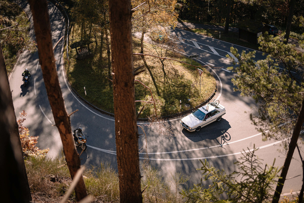 German mountain biker Fabian Scholz escapes from the bustling city of Stuttgart after work with his 1989 Audi Quattro to find silence and solitude in the woods while riding bikes.