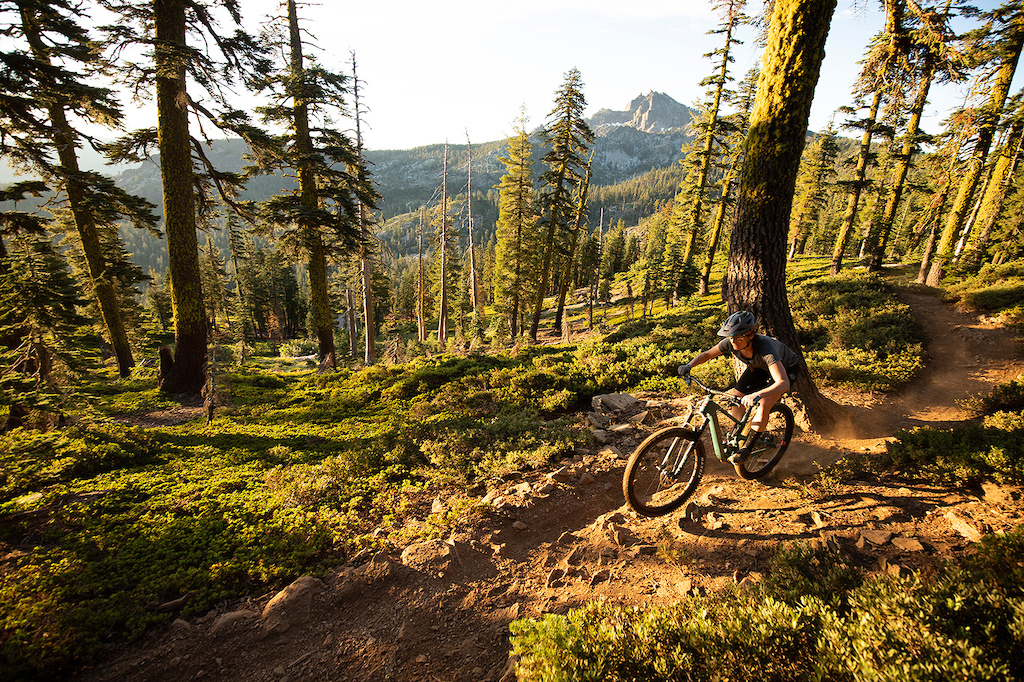 DOWNIEVILLE CA - during a photoshoot with Nathan Riddle and Campbell Steers for the new Santa Cruz Tallboy 4 and Juliana Bicycles Joplin 4 on the Gold Rim Connector Trail near the Sierra Buttes. Photo by Gary Perkin