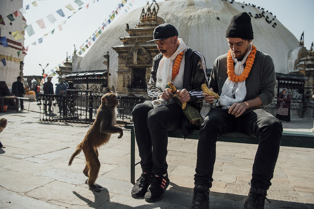 Olly Wilkins and Rob Warner are seen during the filming of Rob Warner s Wild Rides in Nepal on February 17 2019. Bartek Wolinski Red Bull Content Pool AP-225YKSPSS1W11 Usage for editorial use only