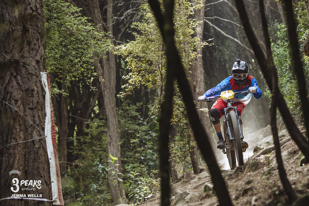 The off camber chute near the bottom of the OC keeps riders on their toes during day two of the Emerson s 3 Peaks Enduro.