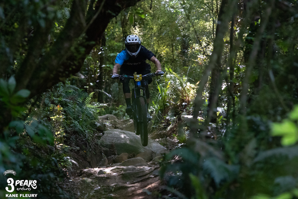 Bradley Harris looking composed through the boulder garden on the Pepper Tree Track.