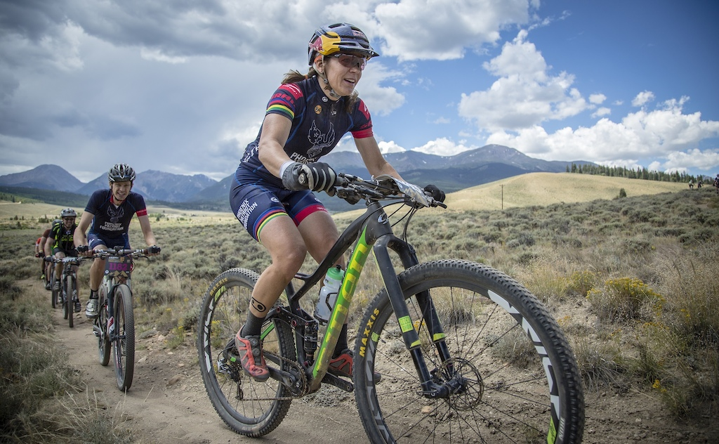 Rebecca Rusch racing up the singletrack portion of the course during the Leadville 100 MTB Race on August 15, 2015.