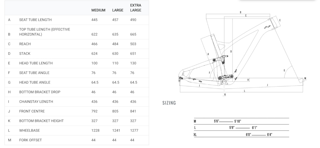 Pace RC295 Geometry Sizing chart.