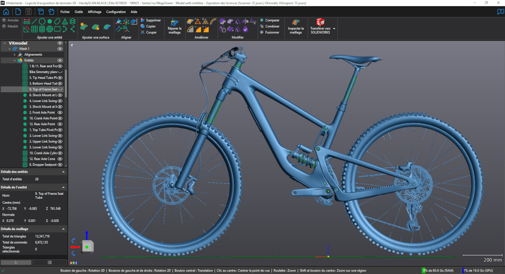The processed 3D mesh file of a Santa Cruz Megatower imported into a CAD package for post processing