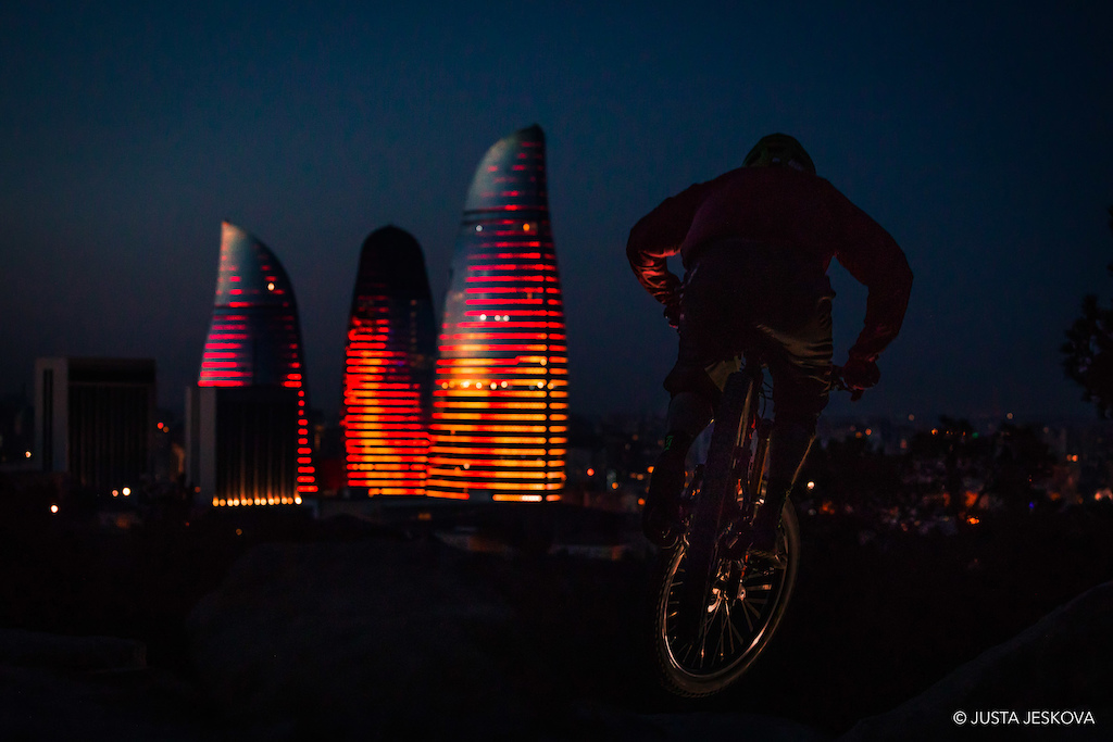 The Flame Towers providing all the light we need on our TVFR night ride.