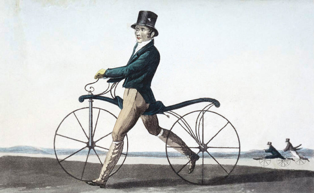 The bicycle has come a long way since the 1820s. Lithograph of Denis Johnson s son sending it on his velocipede.
