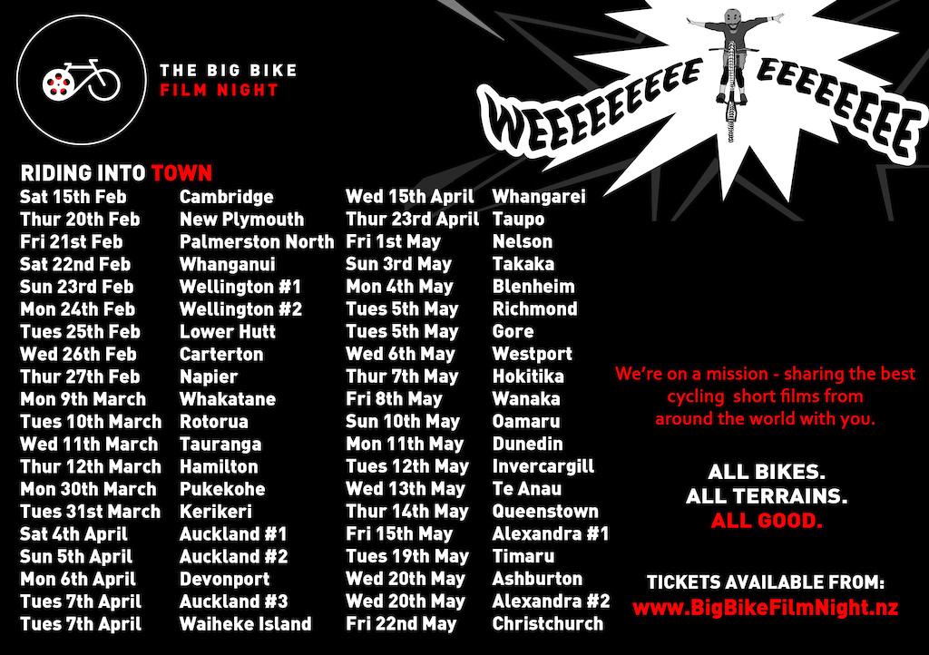 Tour details of the Big Bike Film Night 2020 across New Zealand.  (Australia tour details tba)
