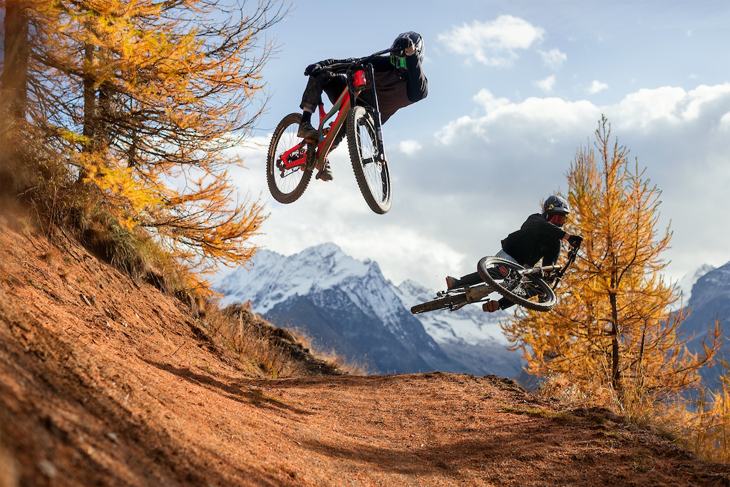 Frix-Frix and Mattéo Iniguez having fun in the Alps last fall.