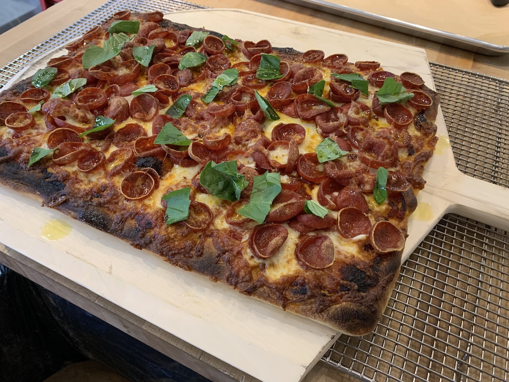 Cup and char pepperoni pizza with hot honey style