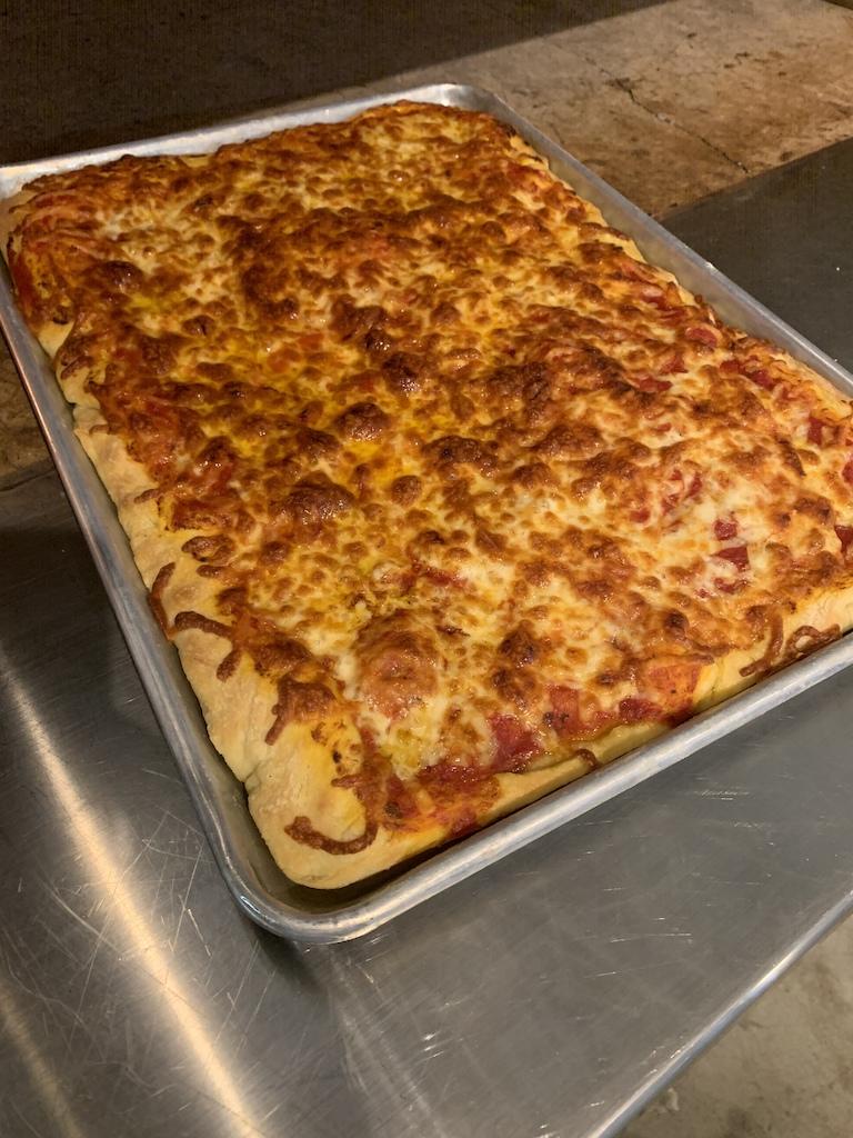 Cheese pizza Roman crust