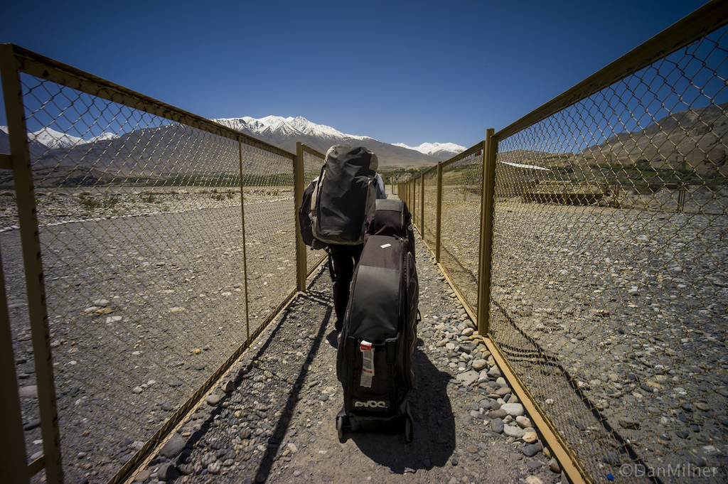 Crossing the border from Tajikistan into Afghanistan.