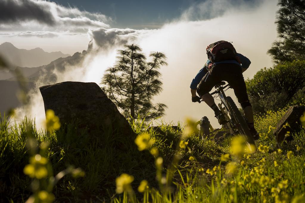 James Brickell riding from the Cruz de Tejeda during a 4 day traverse of Gran Canaria.