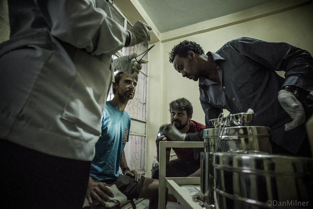 Dain receiving hospital treatment in Ethiopia after a trail crash.