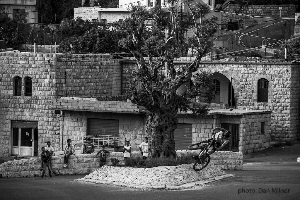 Urban playtime and spectators in Lebanon at one of the villages on the Lebanon Mountain Trail.
