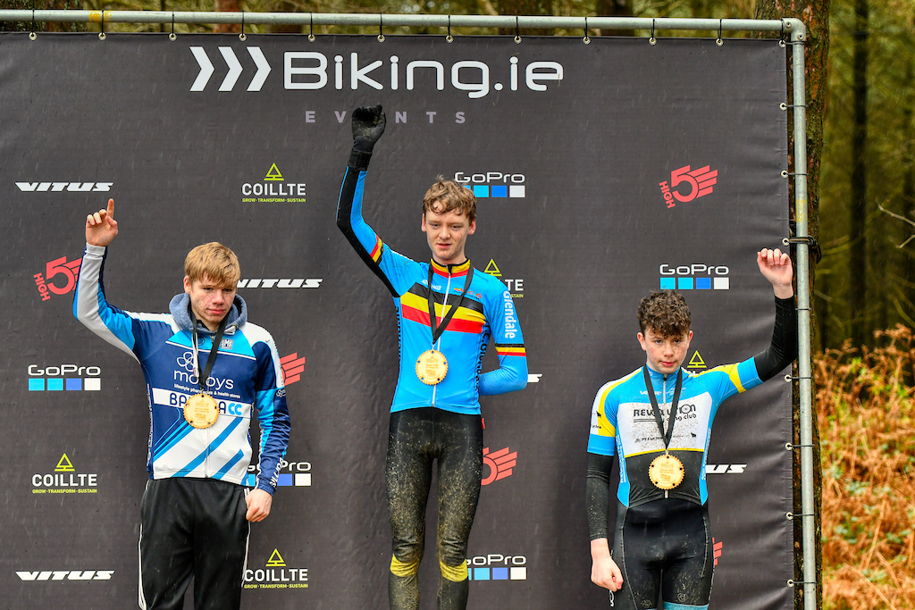 Juniors category podium with Dean Harvey Aaron Finnerty and Cilllian O Shea