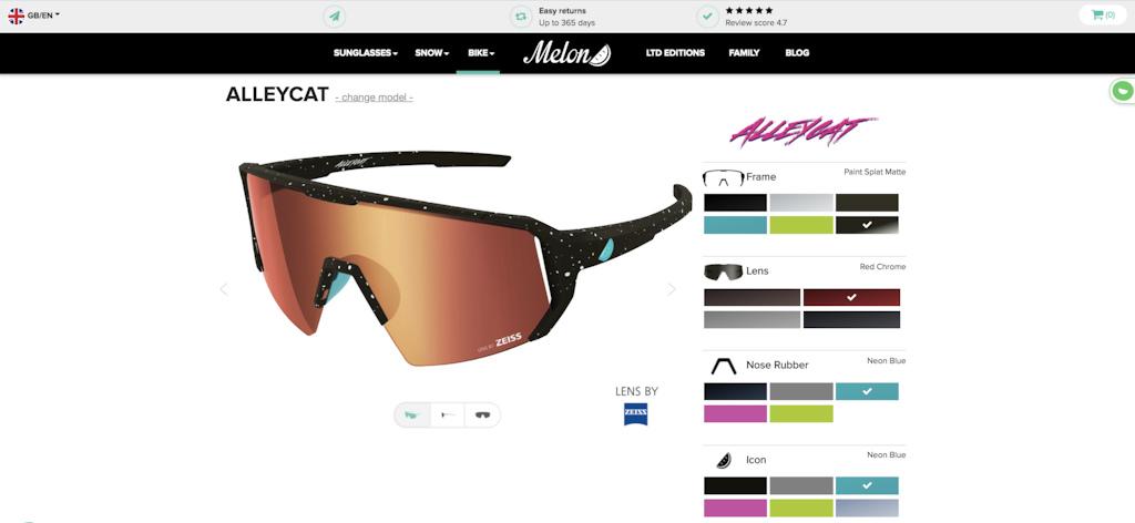 Melon Alleycat customisable on the Melon website