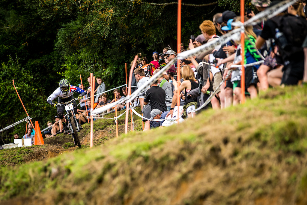 Aussie Racer Troy Brosnan racing at Crankworx Rotorua Downhill