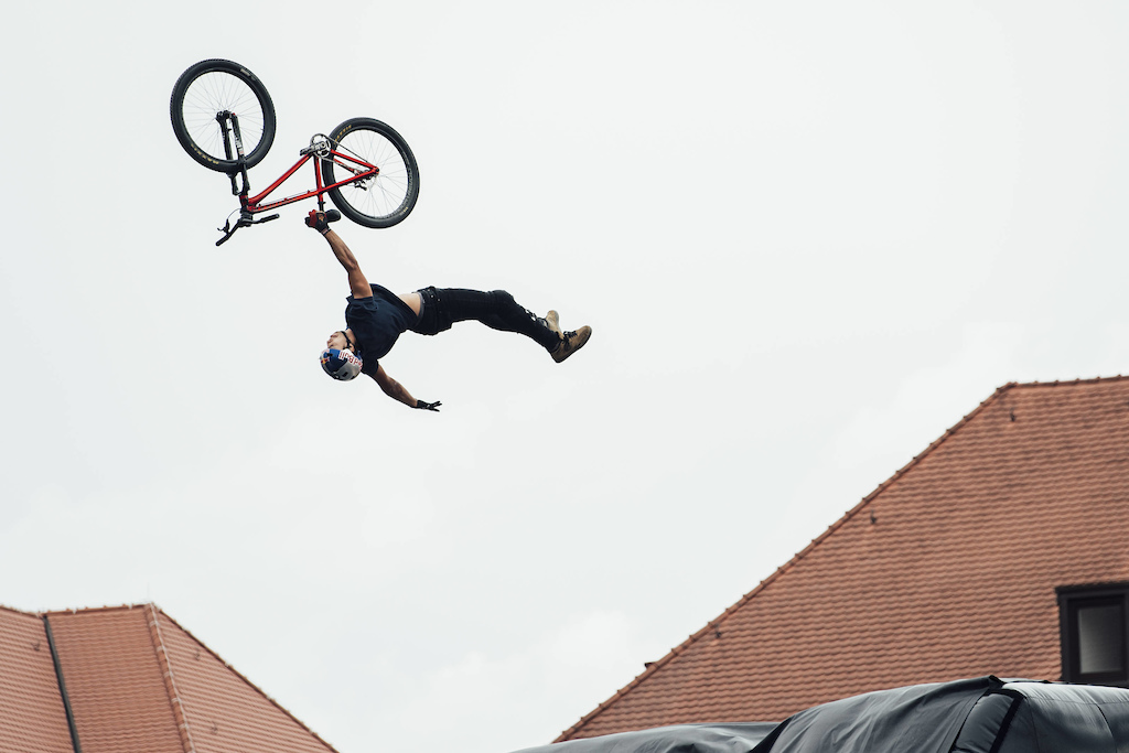 Szymon Godziek of the Poland performs during the finals of the Red Bull District Ride 2017 in Nuremberg Germany on September 2nd 2017 Bartek Wolinski Red Bull Content Pool AP-1T3YA4BXW1W11 Usage for editorial use only